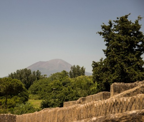 pompeii outskirts with mount vesuvius