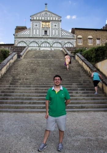 Zach at San Miniato final stairs