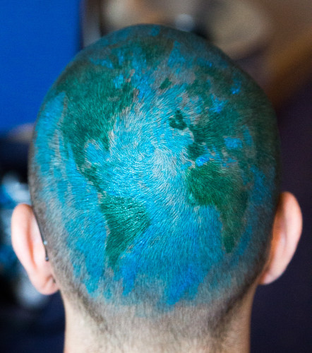 semester at sea shaved head globe