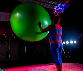 Spider-Man Inside an Exercise Ball in Tainan