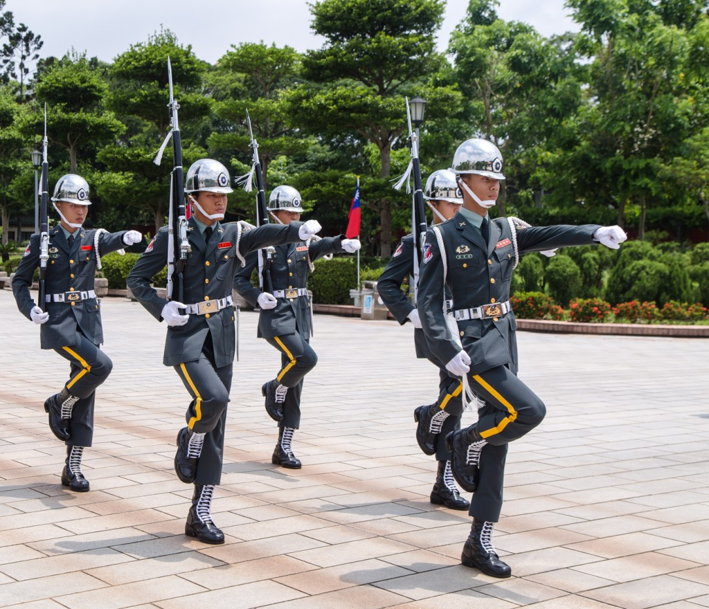 taipei martyrs square changing of the guards action